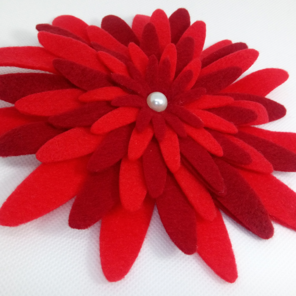 Handmade Flower Hair Clip Red