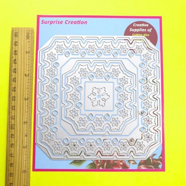 7 pcs snowflakes square frame metal cutting dies